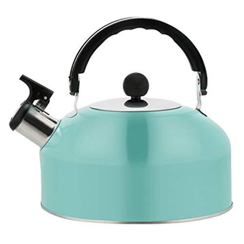 PIXNOR Hervidor de agua silbato de 1,8 l, hervidor de agua de acero inoxidable, tetera con asa, para cocina, interior, exterior, senderismo, picnic, camping, cocina de gas, color azul cielo