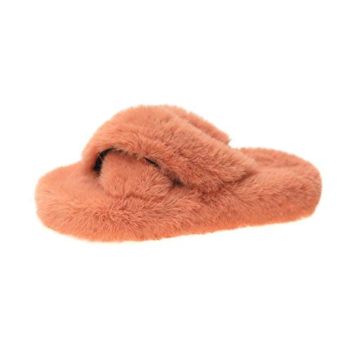Zquest Mens Slipper Boots,Outer Wear Plush Slippers, Cross All-Match Cotton Slippers-Orange_41