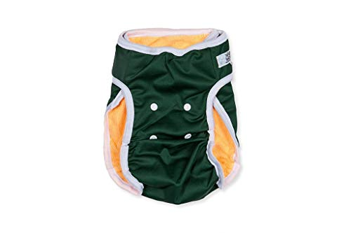 Washable Wonders Dog Diapers for Male | Premium Reusable Dog Diapers | Dog Diapers for Male Small Dogs | No Tail Hole | Washable and Leak Proof (Hunter Green XS)