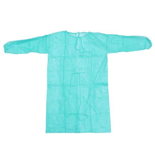 LUOEM Bata de Aislamiento Desechable Bata Médica Universal Bata de Aislamiento No Tejida Batas de Protección para Médico Enfermera Suministros Médicos (Verde)