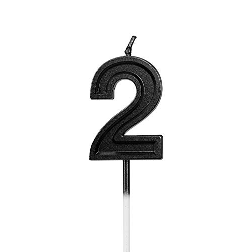 LUTER Black Glitter Happy Birthday Cake Candles Number Candles Number 2 Birthday Candle Cake Topper Decoration for Party Kids Adults (Number 2)