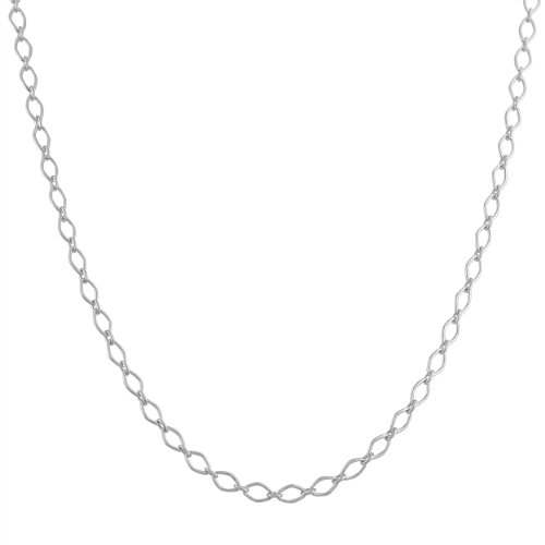 Plata de Ley Romba enlace cadena (3,5mm, 18cm)