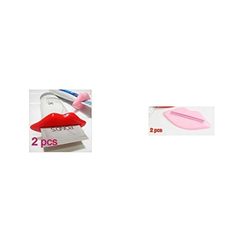 Tia-ve lèvres Kiss Bathroomtoothpaste Crème Squeezer (Rouge), Pink and Red, one-size