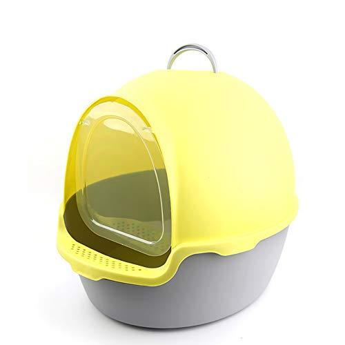 Caja de Arena para Gato Todo Cerrado Encantador Redondo Aseo Gatitos Antiolor Ecológico Abertura Frontal Fácil de Limpiar WC Inodoro,Yellow