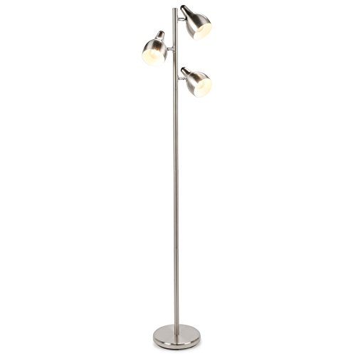 CO-Z 3 Lights Tree Floor Lamp, 3 Arm Task Standing Light for Uplight or Downlight, Brushed Nickel Spotlight Pole Lamp with 3 Adjustable Heads for Living Room Bedroom, Corner Stand Lamp with 3 Shades