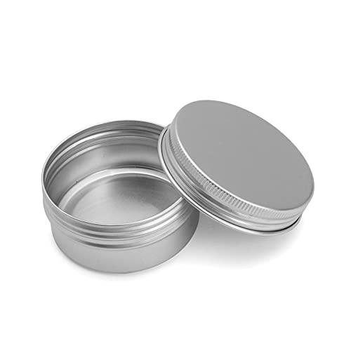 Mizuho 24 unids Vacío Metal Aluminio Redondo Lata Caja Caja Plata Cosmética Crema Jar Estuche Máquinas Almacenamiento Especias Hierbas Tornillo Rosca Labio