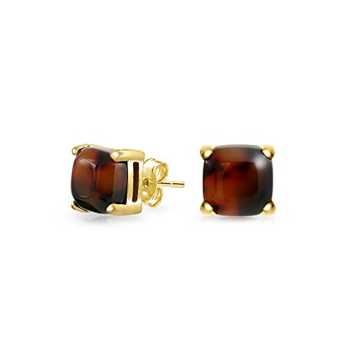 Brown Cushion Square 4 Prong Shaped Acrylic Tortoise Shell Stud Earrings For Women 8MM 14K Gold Plated Stainless Steel
