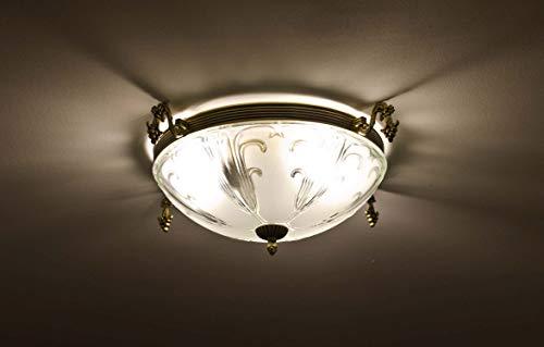 Stilvolle Deckenlampe Glas Ø41cm 3flmg E27 in Messing Jugendstil Wohnzimmer Esstisch Deckenleuchte