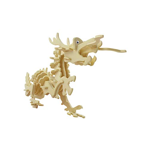 Lumanuby 1x Chinese Dragon 3D Wooden Puzzle Toy Model Making Kits Laser Cut for Adults and Children Table Decoration for Home or Office Gift for Craft Lovers Size 22.6 x 6.5 x 15.3 cm