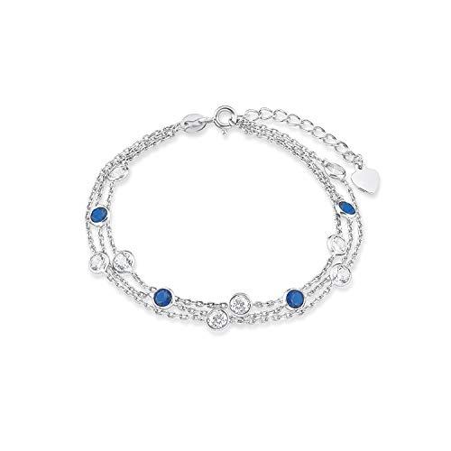 amor Armband für Damen 17+3 cm 925 Sterling Silber Zirkonia blau weiß