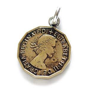 pe1926-06 [ブランド名:2PIECES] ネックレス コイン メンズ リバーシブル ペンダントトップのみ ((06)イギリス(3ペンス))