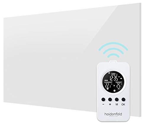 Heidenfeld Infrarot Glasheizung HF-HP120 Schwarz/Weiß + Heidenfeld Thermostat-Fernbedienung - 10 Jahre Garantie - Deutsche Qualitätsmarke - TÜV GS - 300 - 800 Watt - 3 - 19 m² (600 Watt Weiß)