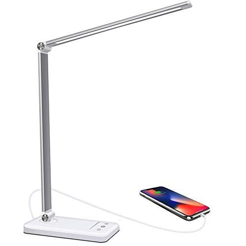 Lámpara Escritorio LED, 5 * 10 Modos de Brillo con 52 SMD Leds Lámparas de Mesa USB Recargable con Temporizador, Plegable...