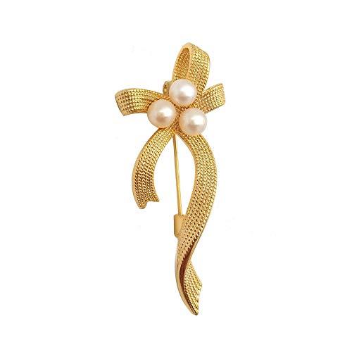 ELAINZ HEART Mujer 18 Quilates Chapado en Oro Perla Ramillete Broche Elegante con 3 Piezas El Mejor 5mm-6mm Perla Blanca cultivada de Agua Dulce Botón