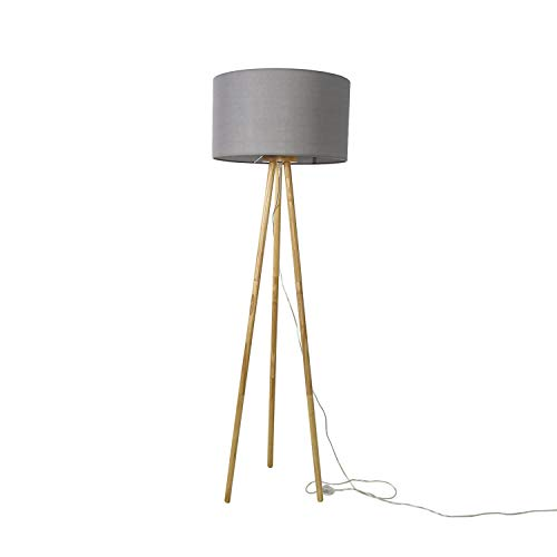 Stehlampe Dreibein Grau Natur E27 Stoffschirm Ø50cm Holz Skandinavisch Wohnzimmer Stehleuchte FLORA zerlegbar