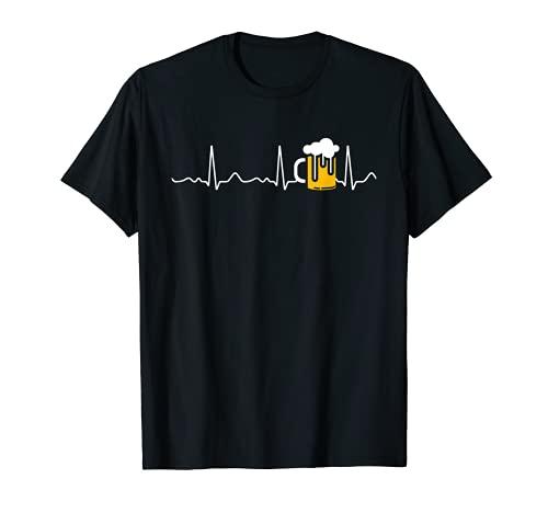 Bier / Bierglas - Herzlinie, Herzschlag, Puls, EKG T-Shirt