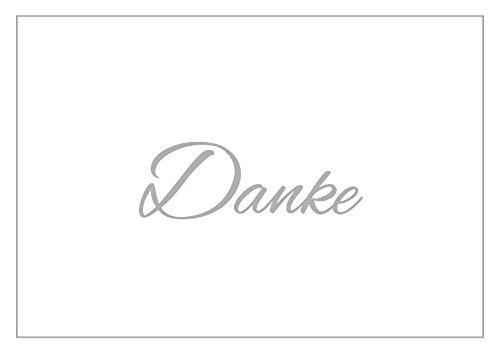Bedankkaarten zonder tekst aan de binnenkant, motief zilver, bedankt vouwen kaarten DIN A6 met witte enveloppen in een set voor diverse gelegenheden, bruiloft, verjaardag, bedankkaarten, bedankkaarten, kaarten enveloppen, bedankt K35 14,8cm x 10,5cm wit / zilver
