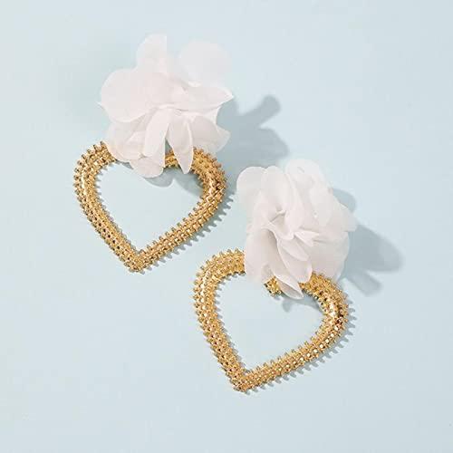 SALAN Pendientes De Flores De Tela Blanca con Gota Vintage para Mujer, Pendiente Colgante De Corazón, Pendientes Largos Grandes, Joyería
