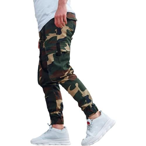 Huntrly Pantalones Casuales para Hombre Pantalones Casuales de Tobillo Ajustable con Estampado de Camuflaje de Personalidad Guapa de Moda Pantalones Casuales Americana M