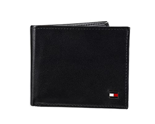 Tommy Hilfiger Men's Leather Wallet – Slim Bifold with 6 Credit Card Pockets and Removable ID Window, Dark Black, One Size