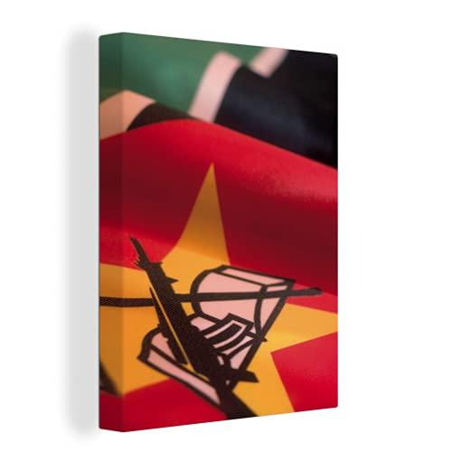 Leinwandbild - Vergrößerte Aufnahme der Flagge von Mosambik - 90x120 cm