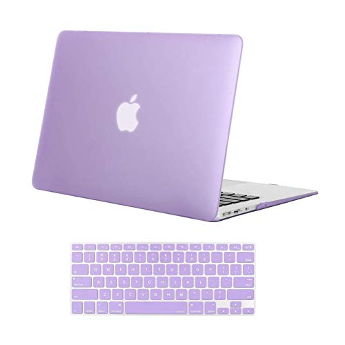 MOSISO Compatible with MacBook Air 13 inch Case Old Version 2010-2017 Release (Models: A1466 & A1369), Plastic Hard Shell Case & Keyboard Cover Skin, Light Purple