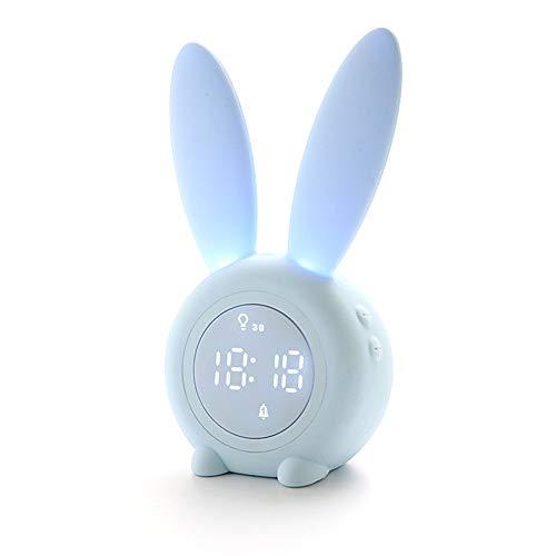 Yiwa nachtlampje, cartoon-motief, haas, kinderwekker, slaaptrainer, oplaadbaar, met magnetisch nachtlampje