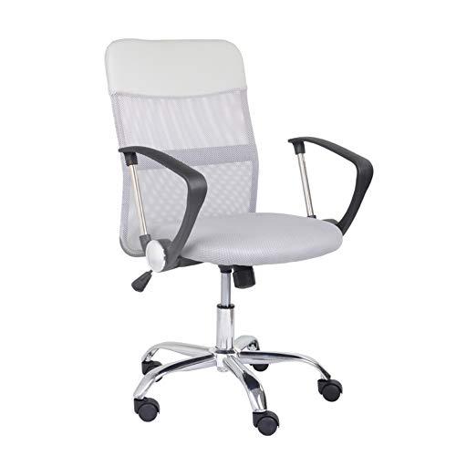 GOLDFAN Bürostuhl Chefsessel Computerstuhl Schreibtischstuhl Drehstuhl Ergonomisch Stuhl Höhenverstellbar Sitzfläche Mesh Grau