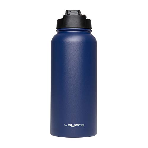 Layer 8 Stainless Steel Portabl Water Bottle with Straw & Wide Mouth Lids Double Wall Vaccum Inuslated 22 and 32 Oz (Navy, 32Oz)