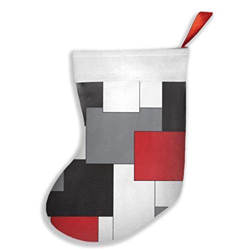 Uliykon Farbblock rot schwarz grau weiß Weihnachtsstrumpf Weihnachten Kamin Baum Socke Geschenk Dekorationen für Weihnachten Party für Familie Urlaub Party