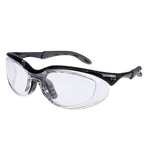 山本光学 YAMAMOTO YS-390 保護めがね 2眼型 高い防護性能 アイカップフレーム採用 ずれにくいラバーテンプル/ノーズパッド ブラック PET-AF(両面ハードコートくもり止め) 日本製 JIS 紫外線カット