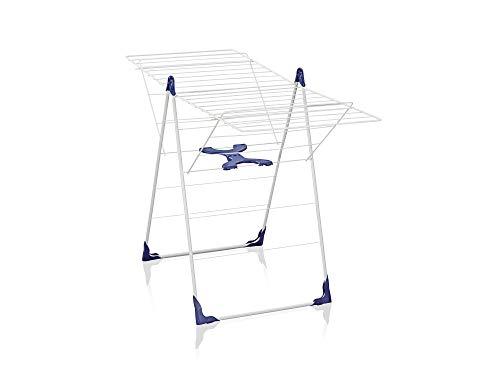 Leifheit Classic 200 Flex Tendedero de Pie, Revestimiento Plástico, Azul y Blanco, 20 m