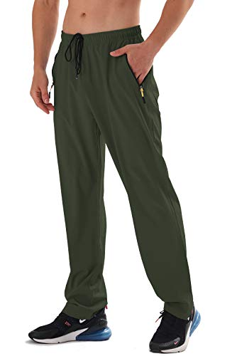 AIRIKE Mens Elastic Waist Drawstring Sweatpants Water Resistant Lightweight Outdoor Hiking Pants with Front and Back Pockets ArmyGreen