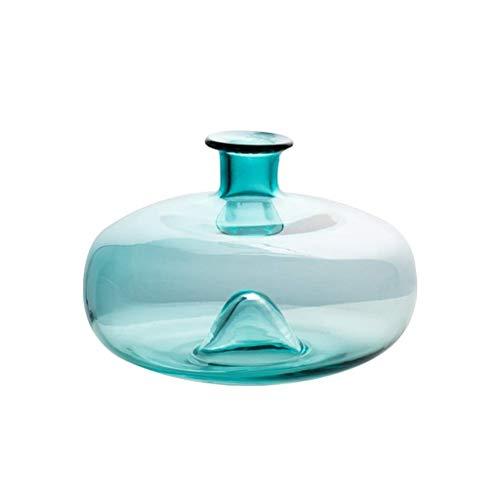 ZXL Doorschijnende glazen vaas, grijs, groen, desktop vazen, gedroogde bloemen, hydrocultuur plant, fles, grootte 21,8 * 21,8 * 14,7 cm, decoratieve vazen (kleur: groen)