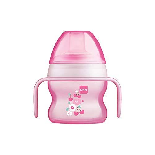 MAM Starter Cup Baby Trinklernbecher (150ml), Trinkflasche für erste Trinkversuche, Schnabelbecher mit rutschsicheren Griffen, ab 4 Monaten, rosa, Tiermotiv