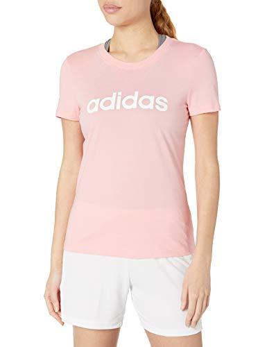 adidas Women's Essentials Linear Slim Tee Glory Pink/White Small