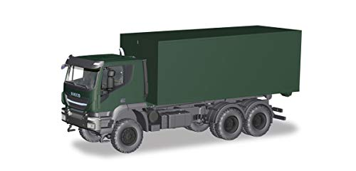 herpa 746519 Iveco Trakker 6x6 Abrollcontainer-LKW Bundeswehr, Mehrfarbig