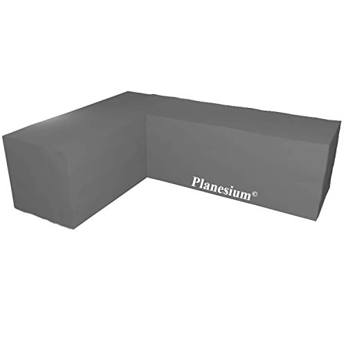 Planesium Premium L-Form Eck-Loungegruppe Eckbank Ecksofa Gartenmöbel Hülle Abdeckung Schutzhülle Haube Abdeckplane Garnitur wasserdicht 575g /lfm (B 300cm x T 300cm x LE 100cm x H 80cm, Anthrazit)