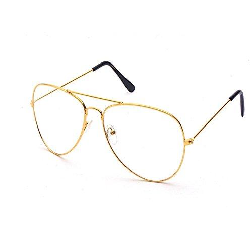 Queque Shine Vintage Pilotenbrille Metallrahmen Fensterglas Brille Ohne Stärke Durchsichtig Nerdbrille Sonnenbrille mit Nasenpad Retro Winddicht Sonne Brille Damen Herren (Gold)