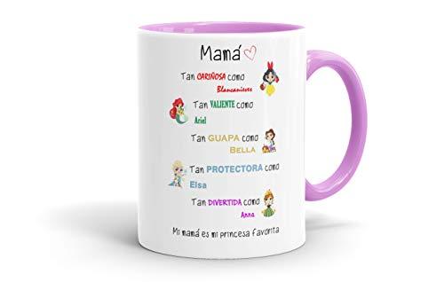 REGALOS ESTRELLA AZUL Tazas Desayuno Originales. Mi mamá es mi Princesa Favorita, Taza Madre, Taza Mama, Regalos Madre, Regalos para Mama, Tazas para el día de la Madre (Rosa)