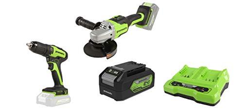 Greenworks Akku-Winkelschleifer GD24SAG + GD24DD35 Akku- & Bohrschrauber, 24 V+Akku G24B4 2.Generation +Doppelsteckplatz-Akku-Universalladegerät G24X2C