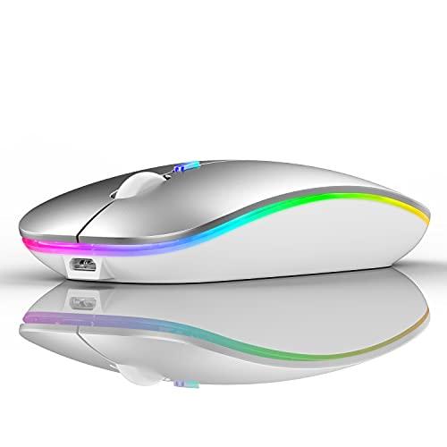 LED Bluetooth Mouse,Bluetooth Mouse for MacBook Pro/MacBook Air/iMac/mac/ipad/ipad pro,Wireless Mouse for Macboook Air/MacBook Pro/PC (Silver)