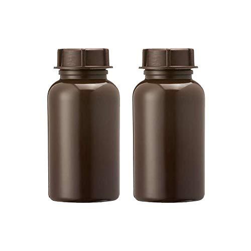 3Wthings (2er Pack) Weithalsflasche aus LDPE mit Schraubverschluss, 250ml, Farbe: Braun (Lichtdicht)