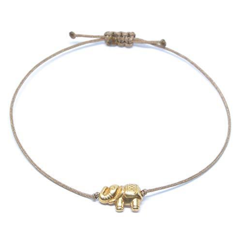 Selfmade Jewelry Elefanten Armband Rosegold auf Braunem Band - Armkettchen mit Rosegoldenem Elefant Größenverstellbares Schmuckstück Damen Frauen Mädchen
