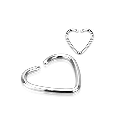 316L Stainless Steel with Titanium Plating Single Closure Heart Ring for Daith, Cartilage, and Other Ear Piercings