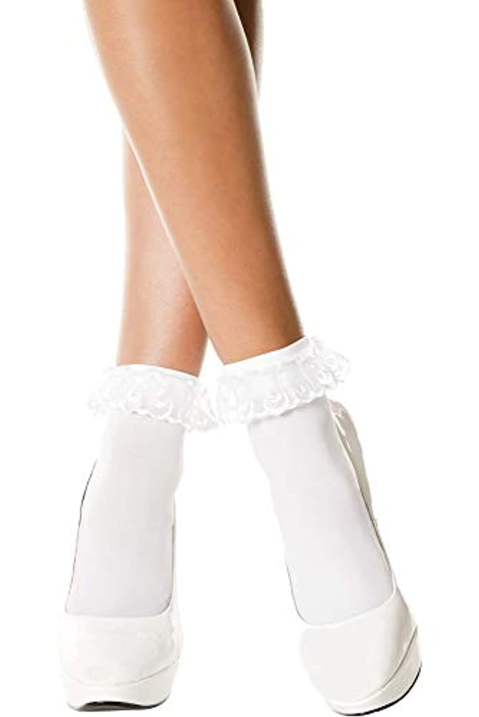 Music Legs Opaque Anklet with Ruffled Lace Top