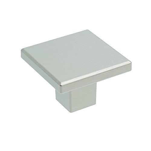 Basics Collection Knob 1-3/16 Inch Square Satin Nickel Finish (10-Pack)