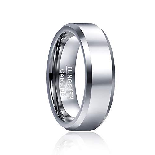 Cloyo 6mm Wolframcarbid Ring Ehering Verlobungsring für Männer Frauen Hochglanz Abgeschrägte Kanten Comfort Fit Größe 54(17.2)