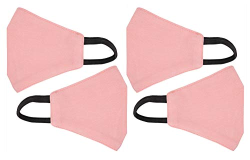4 Pack 3 Layer Cotton Face Masks for Kids Washable Protective Facial Masks with Soft Elastic Loops, Breathable Masks for Dust and Pollutants (Pink)