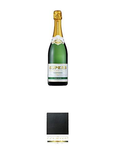 Geldermann SUPERB Sekt - Trocken - Deutschland 0,75 Liter + Schiefer Glasuntersetzer eckig ca. 9,5 cm Durchmesser